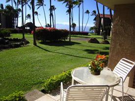The Lanai of the Papakea Maui rental condo is private and comfortable for your Maui vacation rental.